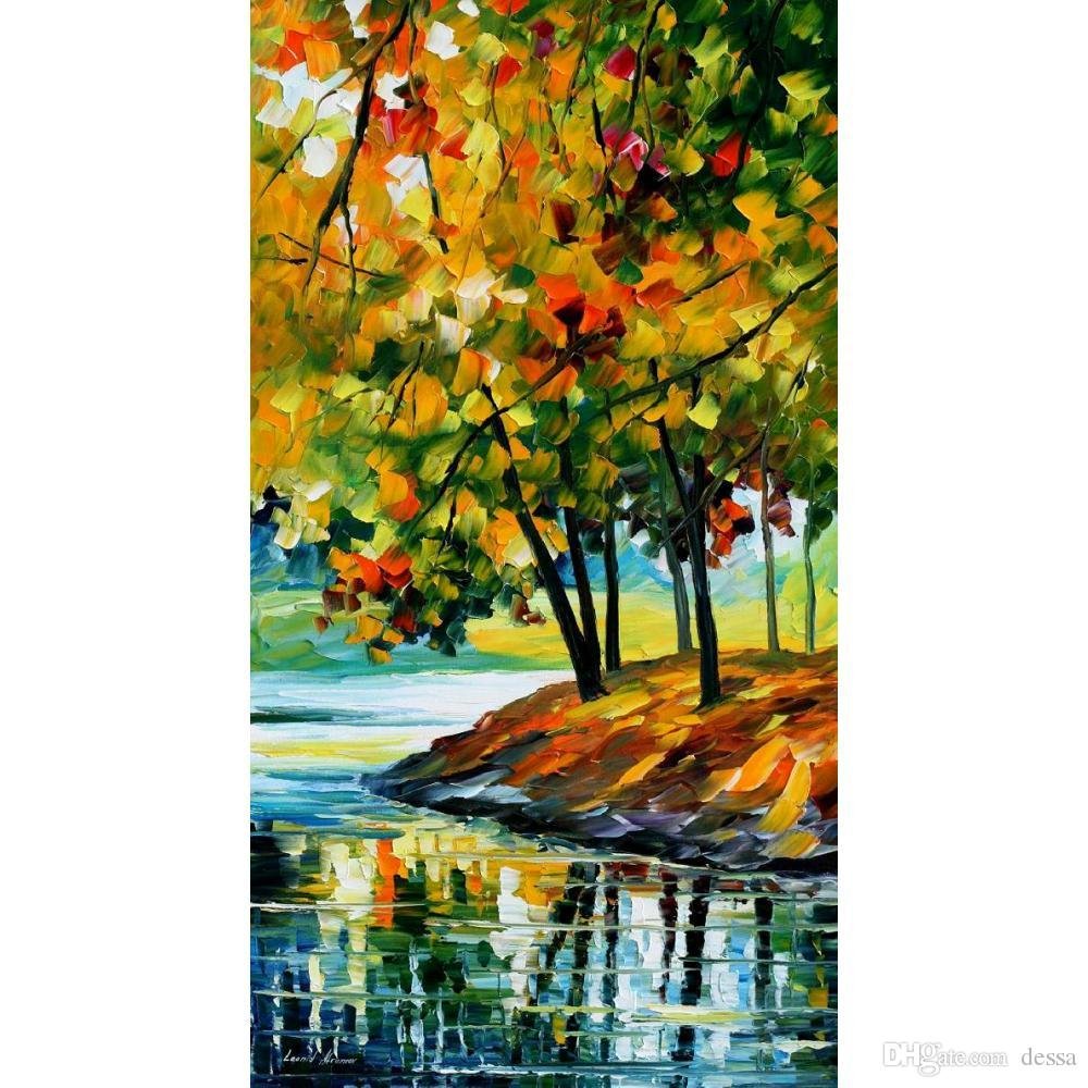 Contemporary Art Oil Painting On Canvas Leonid Afremov Late Fall