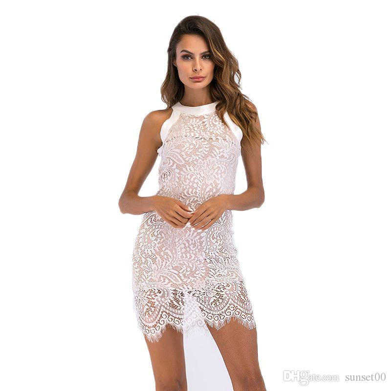b183d2bce1 2019 Women Lace Dress Summer Elegant Hanging Neck Hollow Ladies Sexy Slim  Fit Hip Pencil Skirt For Party Work Wearing From Sunset00, $14.3 |  DHgate.Com
