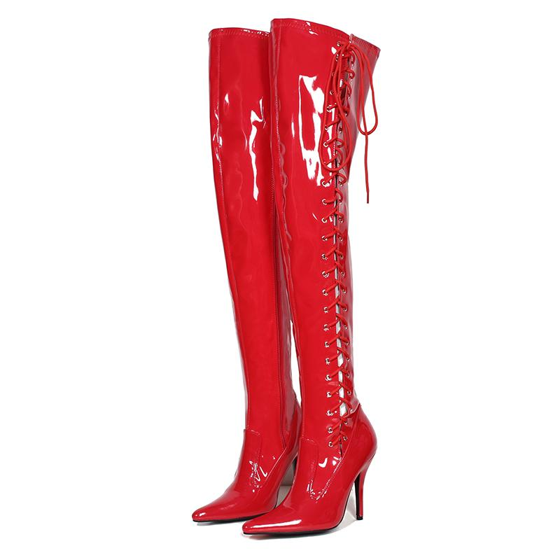 9783cc81e8c Red Thigh Long Boots 13cm High Heels Women Shoes Sexy Patent Leather Over  Knee Fenty Beauty Boots Ladies Shoes Big Size 45 Office Shoes High Heels  From ...