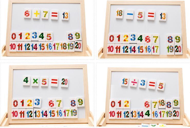 Caixa de aprendizagem multi-funcional DX26 alfabeto aritmética Domino frente e verso placa de desenho magnética brinquedo quadro-negro 0.95