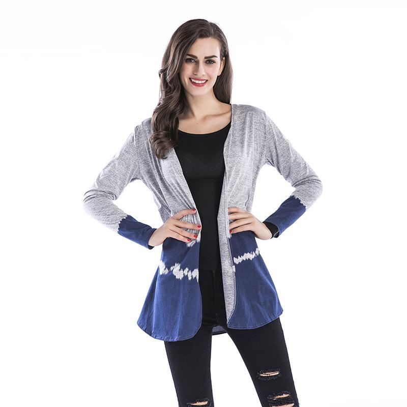 f55d78f8 2019 Summer Cardigan Women 2018 Fashion V Neck Patchwork Long Sleeve Thin  Cardigans Knit Sweater Kimono Jacket Female Black Blue From Yujian18, ...