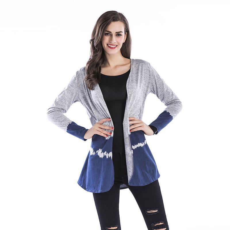 Compre Summer Cardigan Women 2018 Moda Con Cuello En V Patchwork Manga  Larga Thin Cardigans Knit Sweater Kimono Chaqueta Mujer Negro Azul A  22.23  Del ... 6bdd69ef873d
