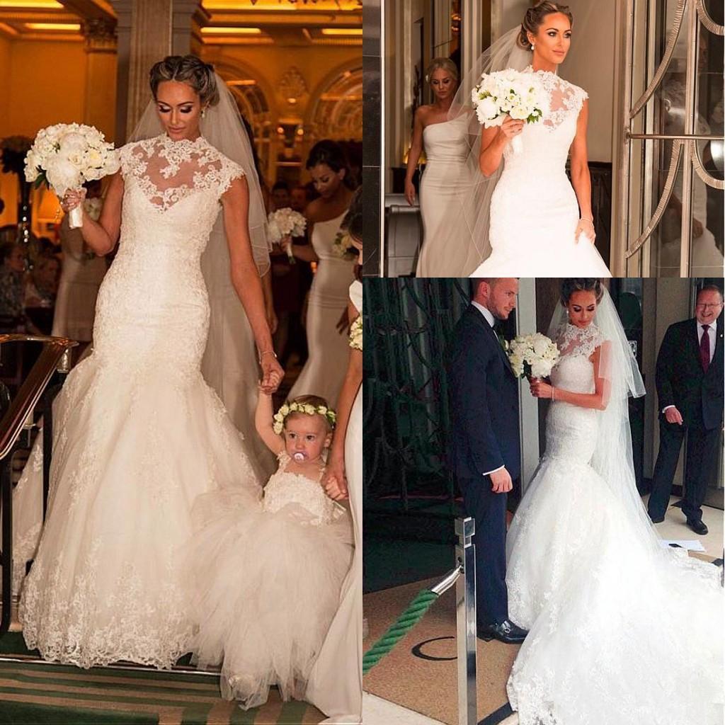 2019 Impresionante árabe sirena vestidos de novia de encaje con cuello alto rebordear marco personalizado vestidos de novia botón cubierto por encargo