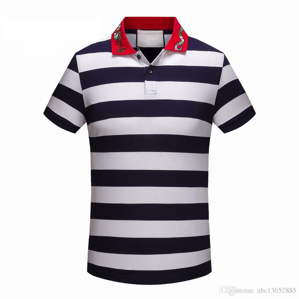 남성 캐주얼 줄무늬 T 셔츠 신사복 고급 브랜드 POLO 셔츠 자수 인쇄 면화 고급 폴로 셔츠