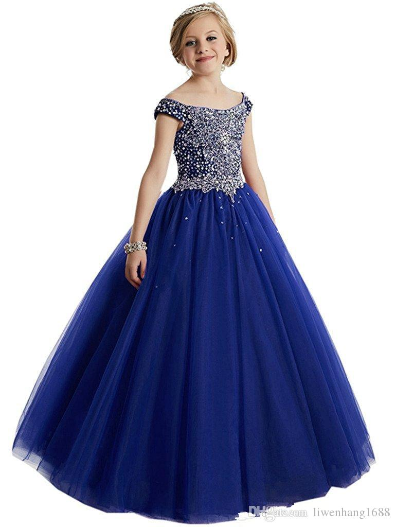 Elegant Beads Sequins Girls Pageant Dresses 2018 Crystal Girl Communion Dress Ball Gown Kids Formal Wear Flower Girls Dresses for Wedding454