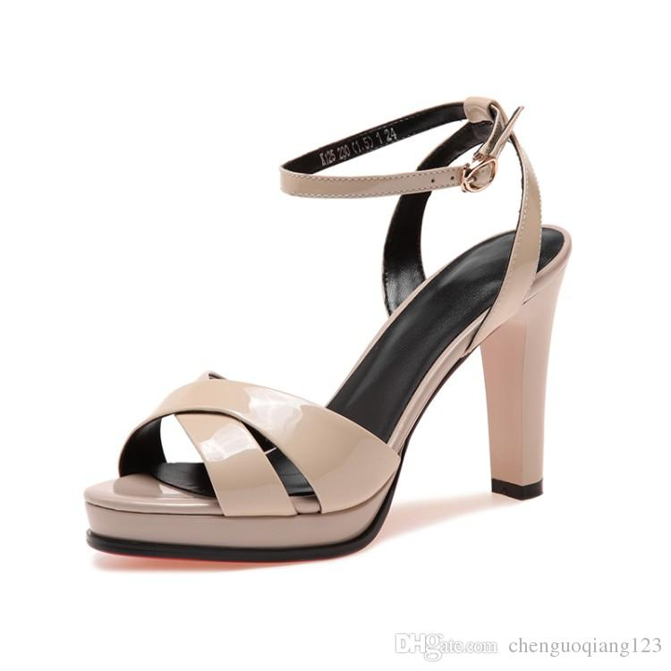 Women Platform Dress black sandals Ankle Wrap Tie Front women ankle strap high heel Block Heel open toe shoes with buckle breaded