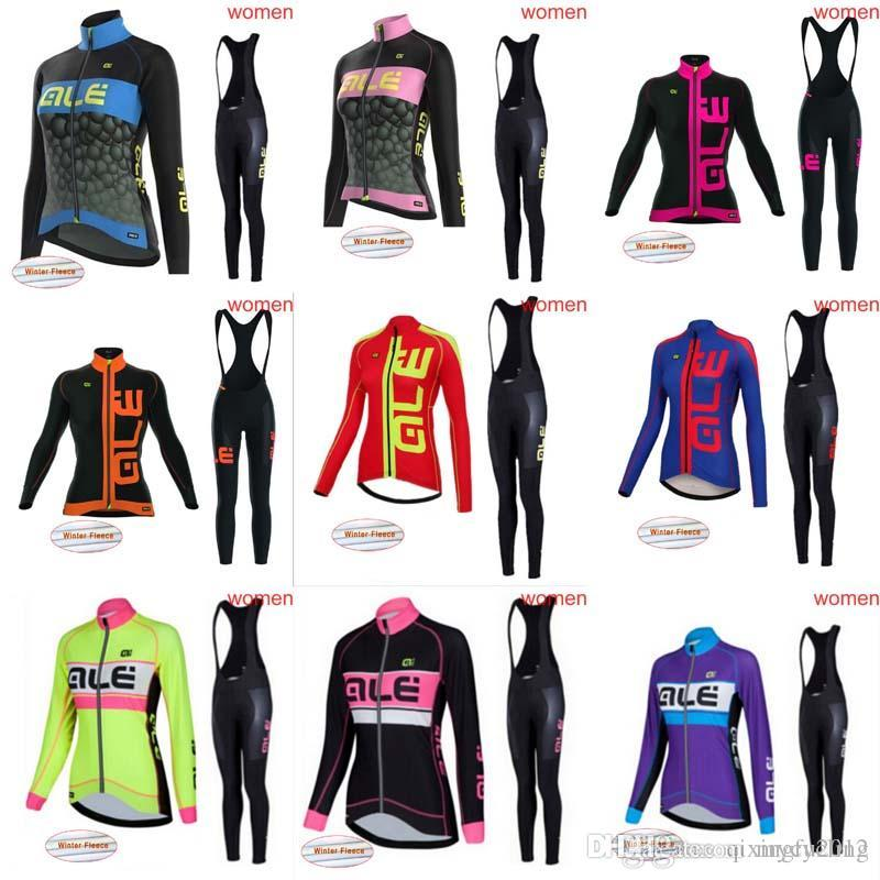 ALE 2018 Pro Team Women s Long Sleeve Cycle Jersey Kit Winter Thermal  Fleece Bicycle Clothes Bib Pants Sets C1246 ALE Cycling Jersey Cycling  Jersey 2018 ... fbc366609