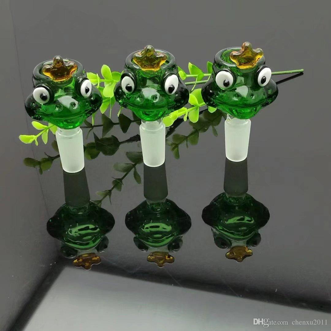 Grenouille tête de bulle de verre de dessin animé bong verre en gros brûleurs à mazout en verre Les conduites d'eau huile fumante Rigs, huile.