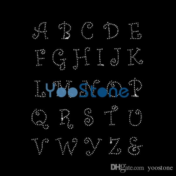 Alphabet Capital Letters A To Z Hot Fix Rhinestone Transfers Iron On Motif 20pcs