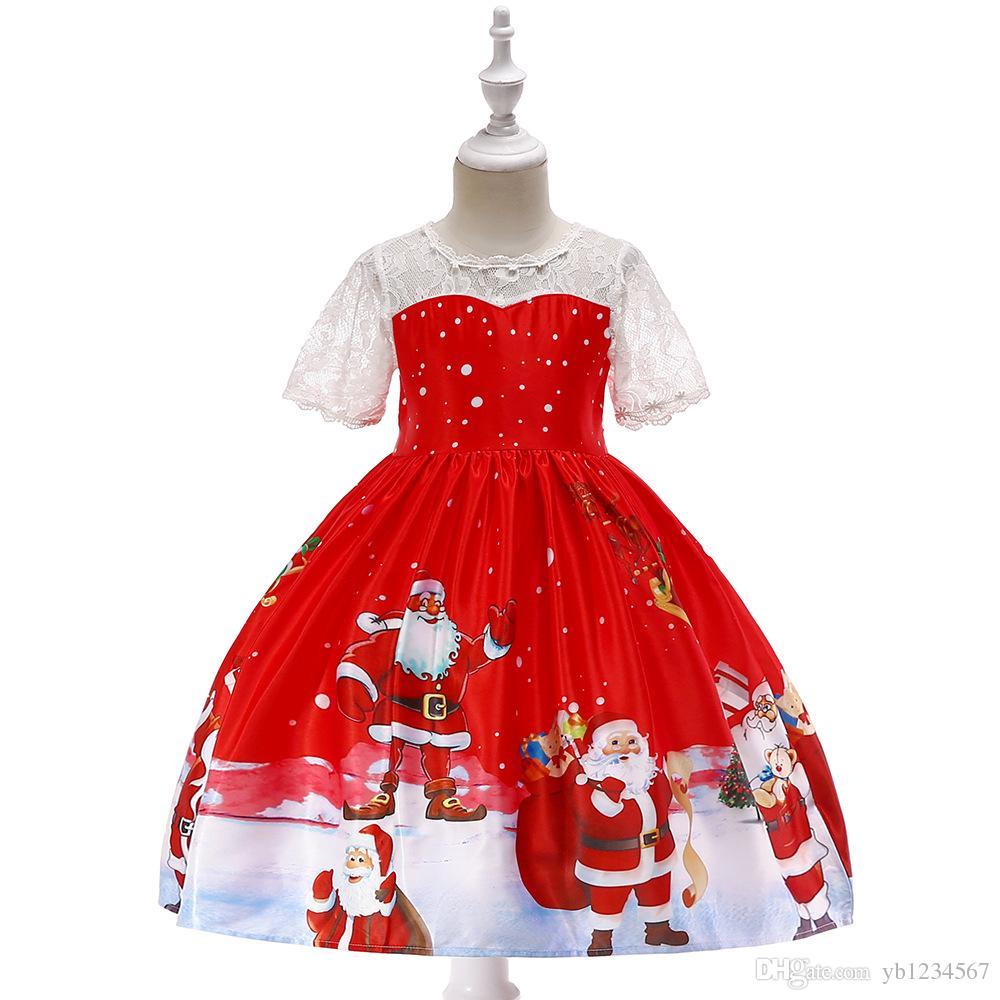 82eb41f10 Compre Vestido De Niña De Navidad Princesa Ropa Para Niñas Traje De Tutú  Rojo Niños Ropa De Rendimiento Vestidos De Bola De La Escuela Linda De  Manga Corta ...