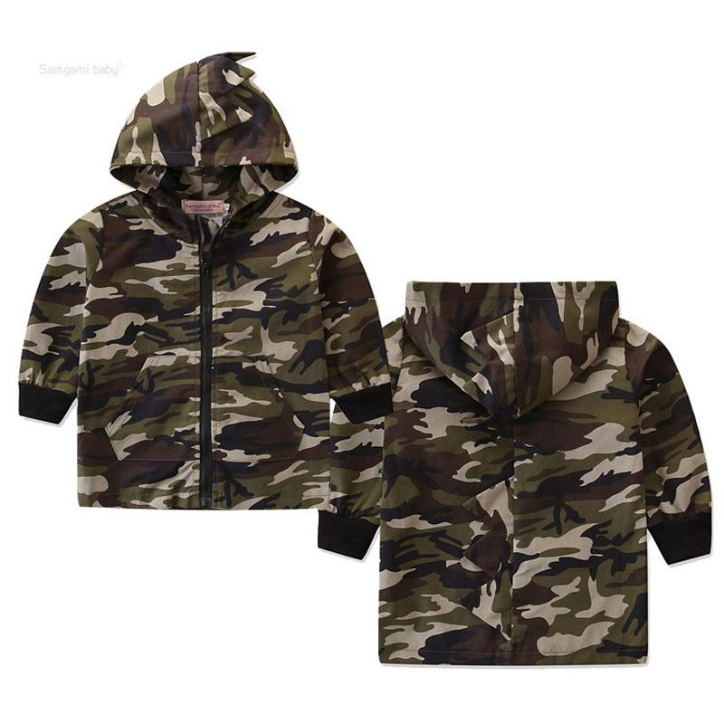 Baby Dinosaur Camouflage Jacket Kids Boy Designer Clothes Windbreaker Ins Hooded Korean Style Zipper Coat Autumn Spring Pocket Long Sleeves