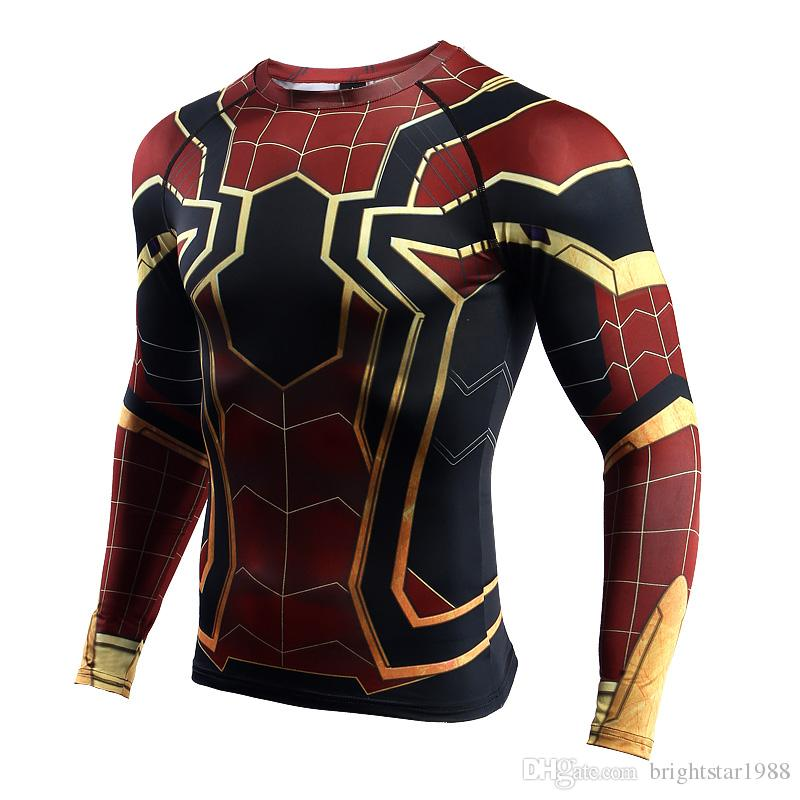 Sleeve Spiderman 3D Printed T shirts Men Compression Shirts 2018 NEW Crossfit Tops For Male Cosplay Costume Clothing