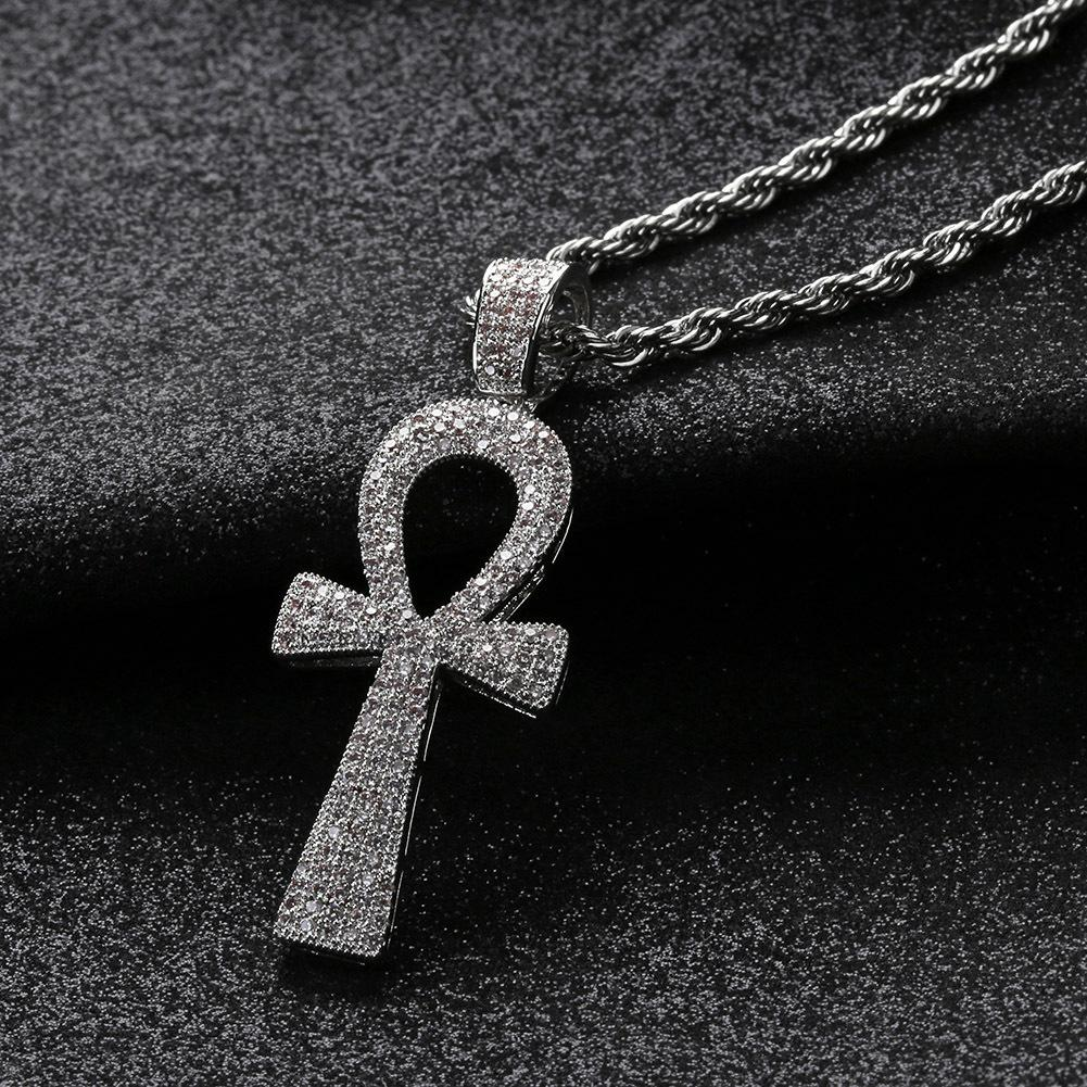 Hip Hop Silver/Gold Color Jesus Egyptian Ankh Key Cross Pendant Necklaces Cubic Zirconia Long Chains for Male and Women