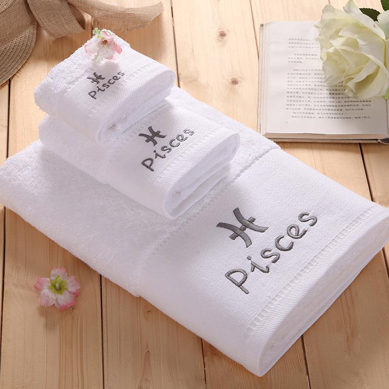 100% Cotton White Towel Set Constellation Letter Embroidery Square
