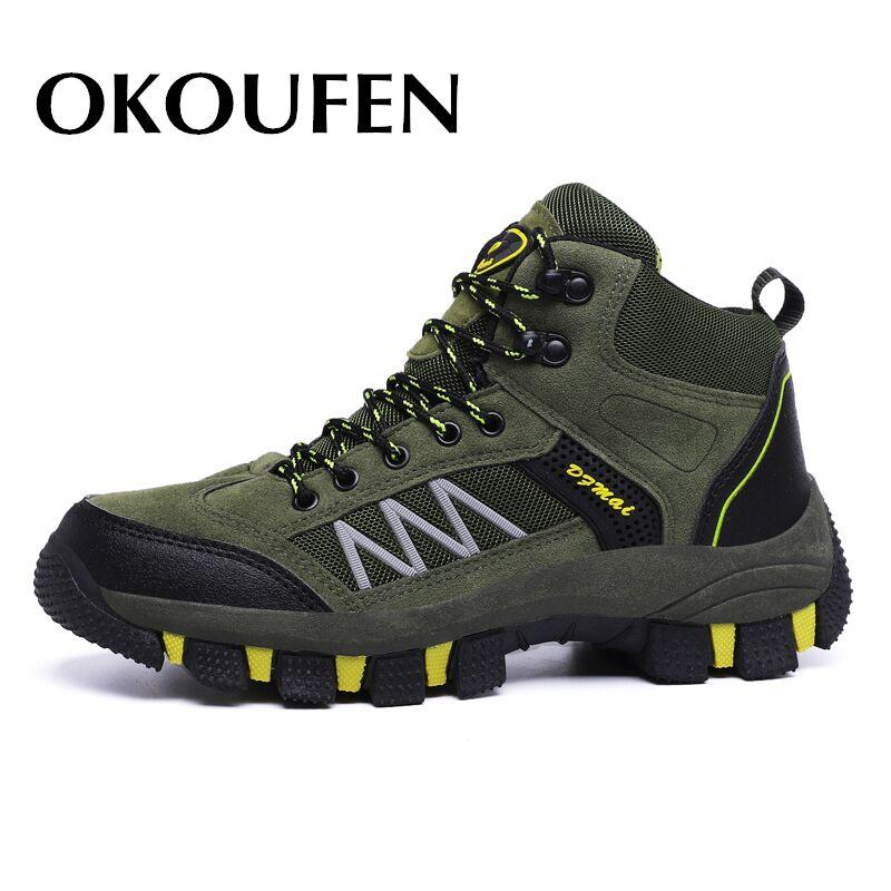 OKOUFEN Sneakers For Men Breathable Hiking Shoes Male Outdoor Antiskid Wear-resisting Walking Trekking Jogging Tourism Boots