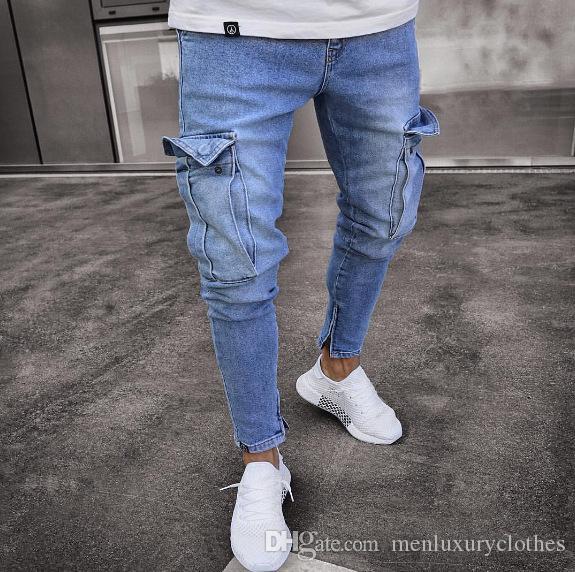 diseño atemporal d1e27 f08ee Teenage Clothing Jeans Men Designer Jogger Jean Big Pockets Design Pencil  Pants Zipper Biker Jeans