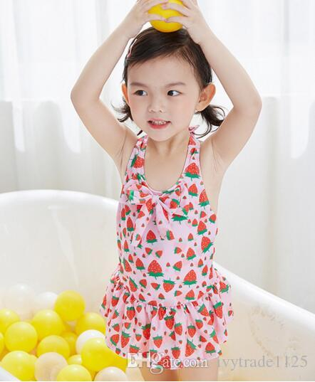 Ins fashion hot selling girl kids one piece Romper bikini summer girl cute watermelon or swan Print Swimming clothes 2 styles free ship