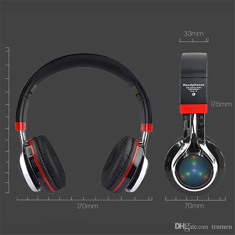 29883874bf3 LED Light STN 18 Bluetooth Headphones Glowing Foldable Earphone Wireless  Stereo Music Headset With Mic FM Radio TF Headset Top Headphones Usb  Headphones ...