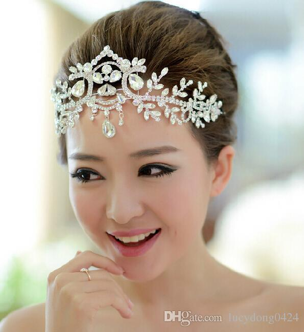 Gorgeous Pliability Silver Big Wedding Diamante Pageant Tiaras Hairband Crystal Bridal Crowns For Brides Headpiece Silver & Gold HTJ004