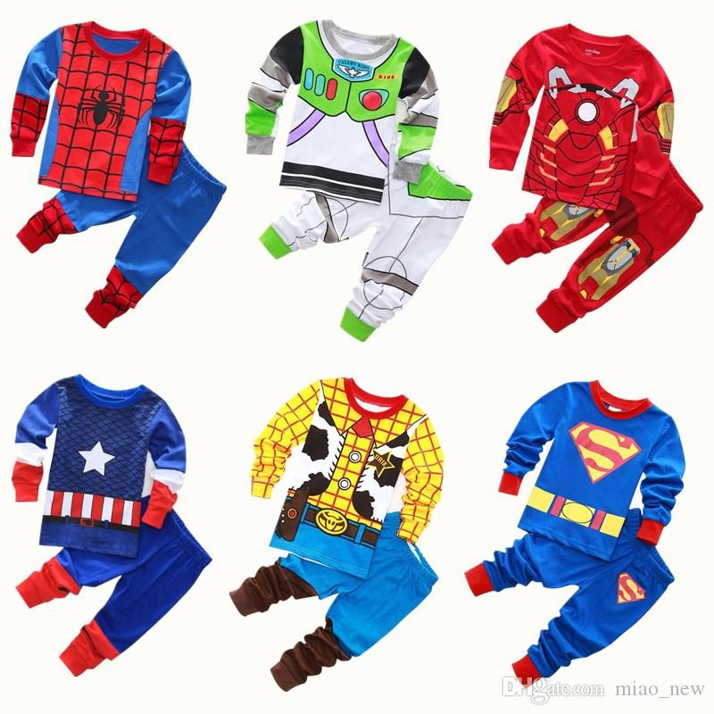 2019 European and American Boys Spider Iron Man Child Set Cotton Tracksuit Pajamas Two sets of long-sleeved trousers