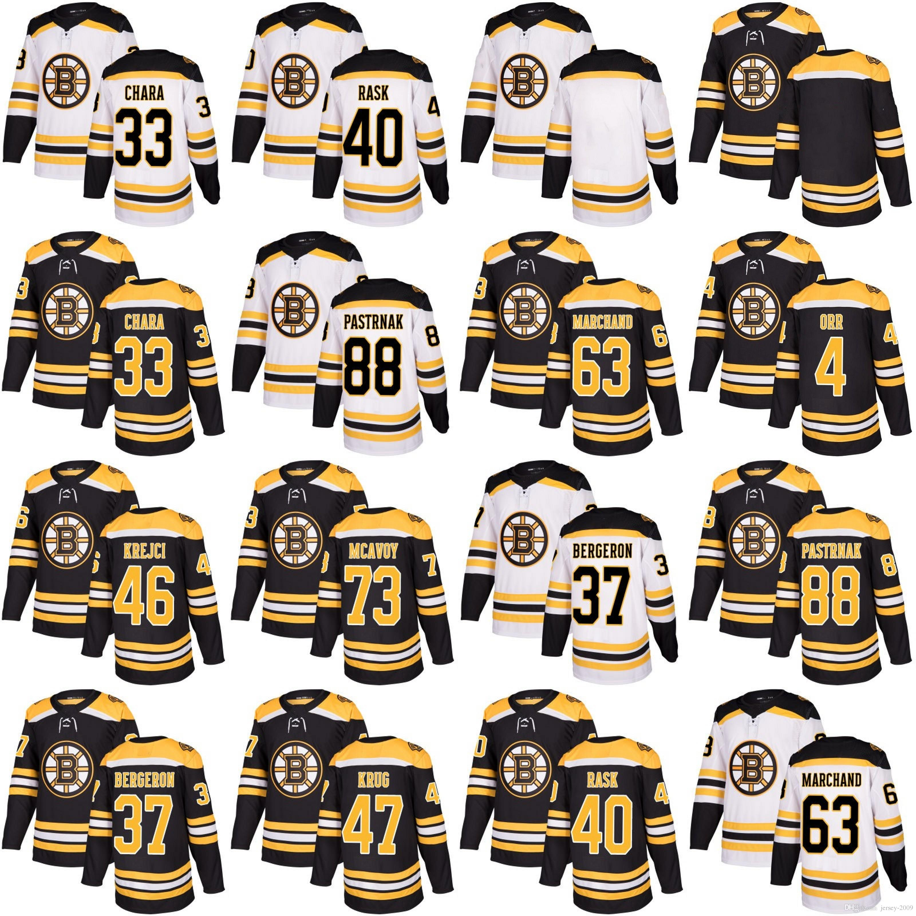 05a5e38b088 Acquista 2018 Boston Bruins 88 David Pastrnak 46 David Krejci 37 Patrice  Bergeron 63 Brad Marchand 33 Zdeno Chara 40 Rask Torey Krug Maglie Da  Hockey A ...