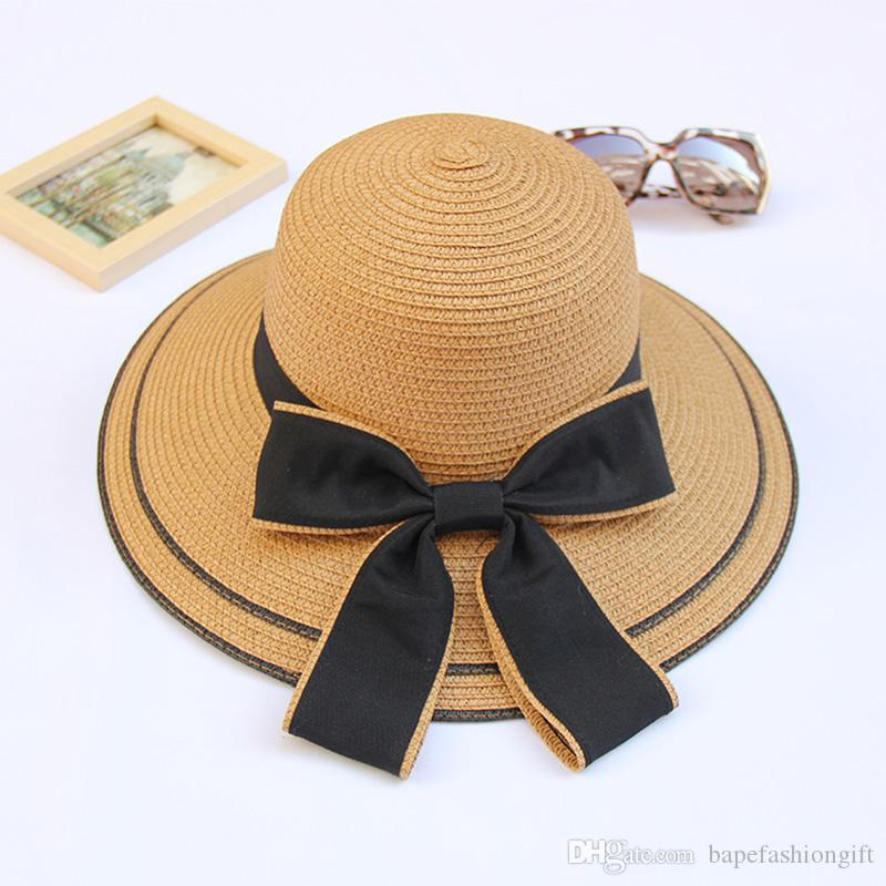 Khaki Straw Hats For Lady Fashion Summer Beach Floppy Straw Hats With Bow  Adjustable Wide Brim Hat Women S Foldable Hats Hats For Women Trilby Hat  From ... 2a7e92c61e03