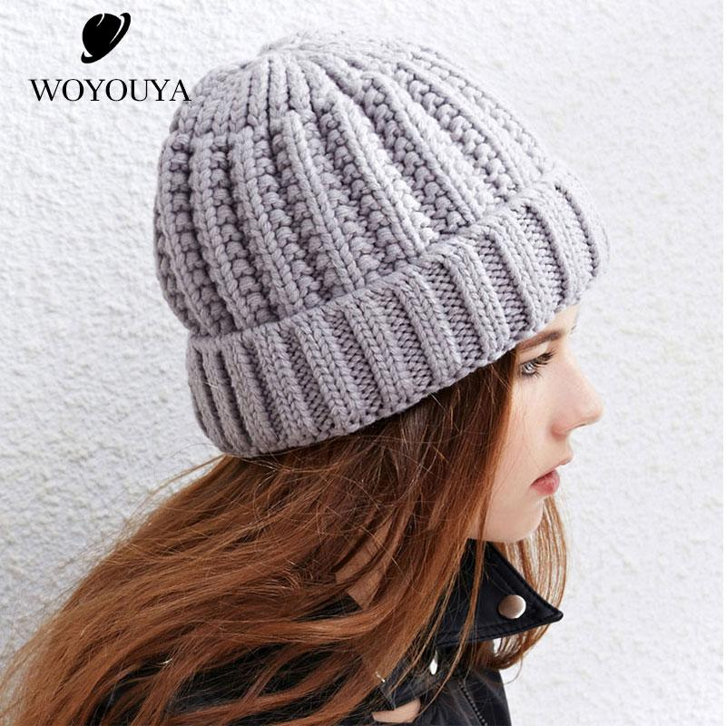 WOYOUYA 2018 Winter Simple Knitted Hat Pure Black Gray Knitted Hat Women  Korean Version Ladies Hats Thick Thick Knit Stetson Hats Trilby From  Naughtie 2f32c5e3e91