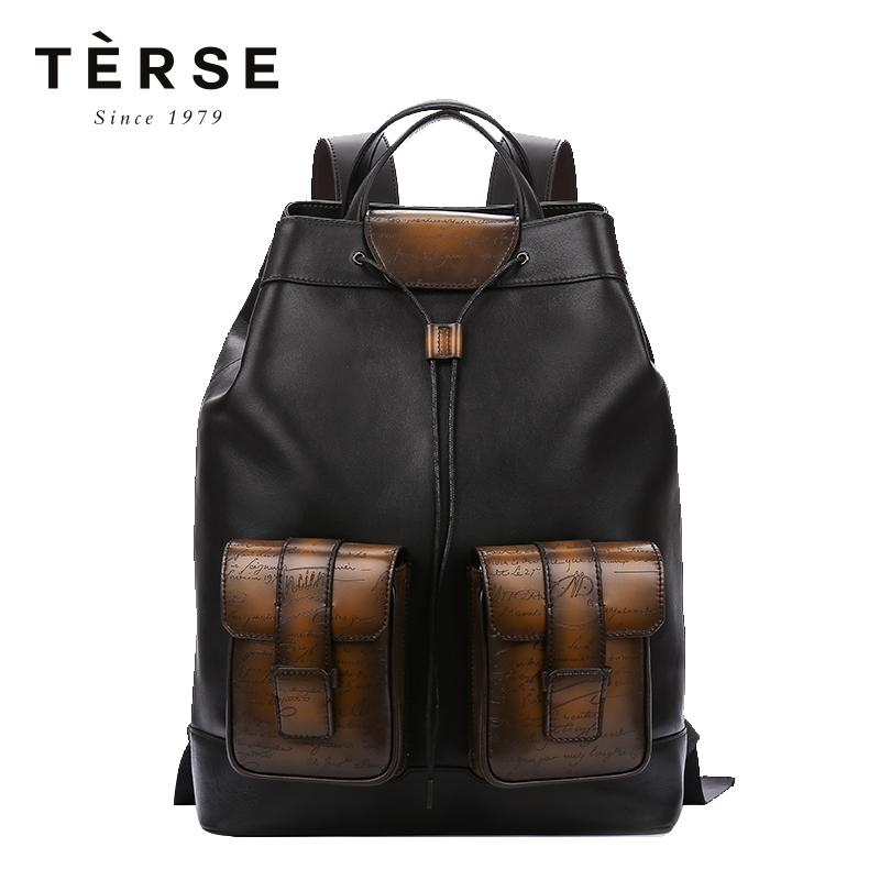TERSE Men`s Backpack Handmade Cow Leather Pactch Work Back Pack Vintage  Preppy Style Large Capacity Bag For Male LN9703 1 Mens Backpacks Swiss Army  Backpack ... 730895d9578d8