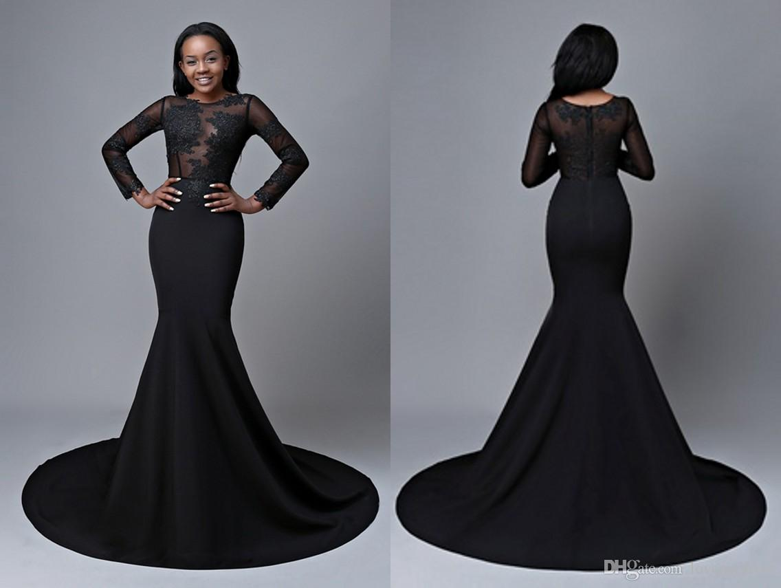 bfb674ed77f Black Long Sleeve Prom Dresses Cheap 2018 Mermaid Sheer Neck Lace Applique  Hollow Back For Plus Size Evening Formal Gowns Fat Women Girls Prom Dress  Outlet ...