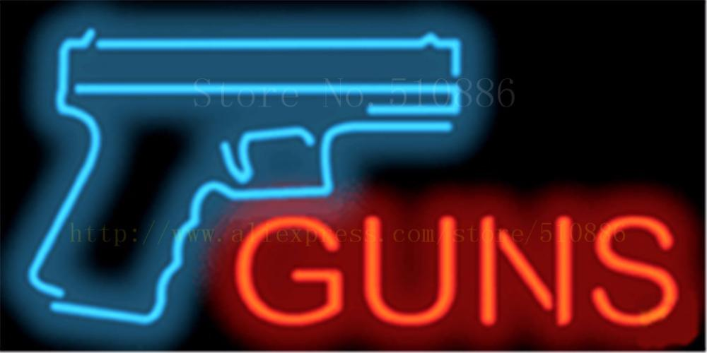 1714 Guns Neon Sign Real Glass Beer Bar Pub Light Signs Store
