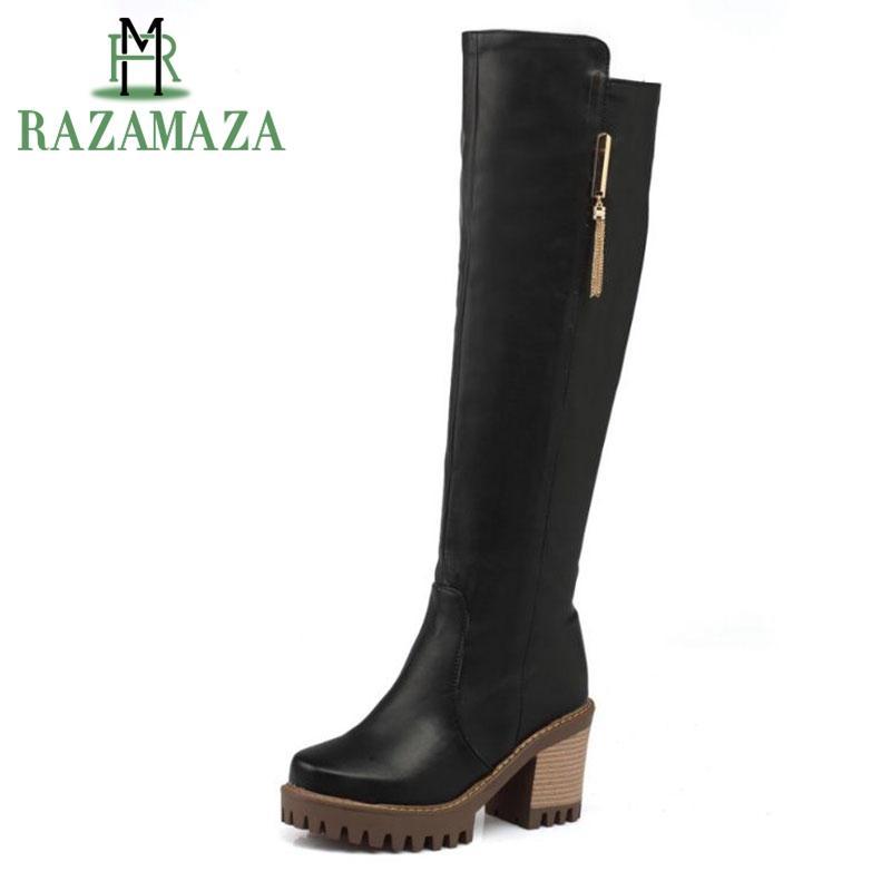 91ddae326 Compre RAZAMAZA Tamaño 34 43 Mujeres Cuadradas Botas De Tacón Hasta La  Rodilla Cremallera De Punta Cuadrada Vintage Bota Mujer De Piel Cálida Zapatos  De ...