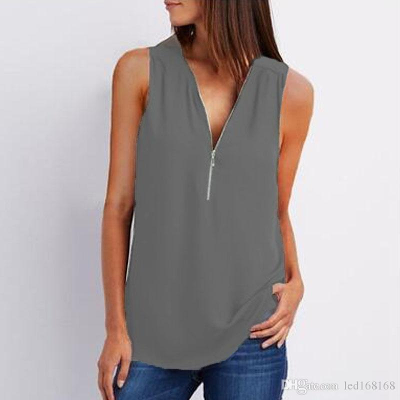 66c151b40a2b6 Summer Women Elegant V Neck Sleeveless Blouse Solid Loose Chiffon Shirt  Casual Office Work Tanks Top Plus Size Blouses Shirts Online with  $11.89/Piece on ...