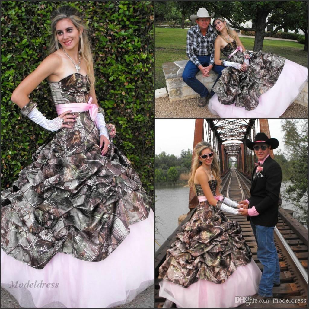Elegant Camo Wedding Ideas: Discount Pink And Camo Wedding Dresses Fashionable