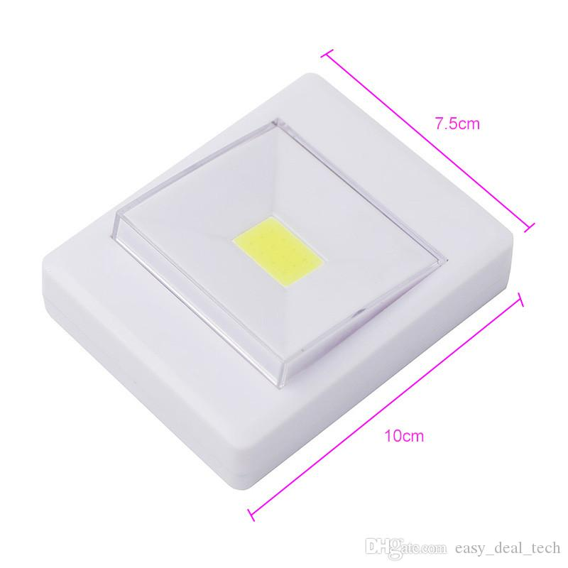 Magnetic Mini COB LED Wall Light Night Lights Camp Lamp Battery Operated with Switch Magic Tape for Garage Closet Q0398