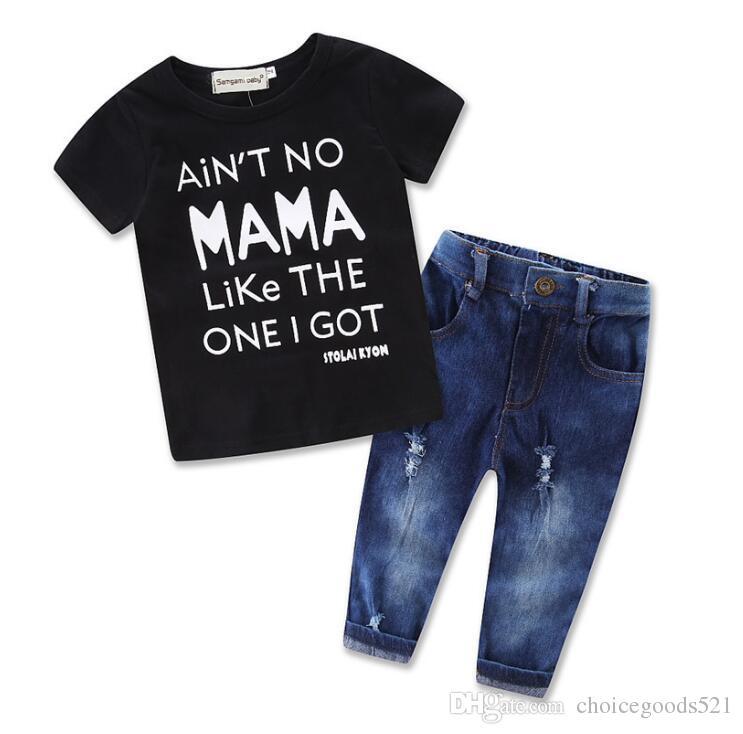 cf9003eda Children boys outfits baby boy mama t-shirt +jean pants 2 pcs set summer  Kids leisure Clothing