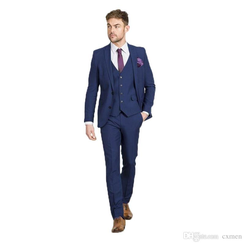 a5579a391d631 Compre Azul Marino Trajes De Hombre Para Boda Slim Fit Novio Esmoquin Guapo  Mejor Hombre Blazers 3 Piezas Chaqueta Pantalones Chaleco Pico Solapa  Solapa ...
