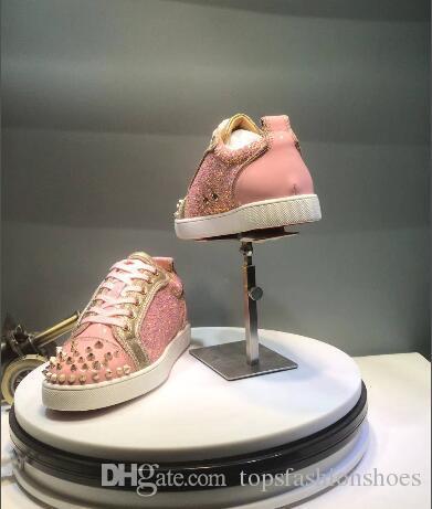 e7537c8e56301f Acheter Paillettes Roses Avec Des Pointes En Or Baskets Rouges Designer De  Luxe Haut Haut Skate Sneakers Hommes Femmes Casual Chaussures Brand New  Comfort ...