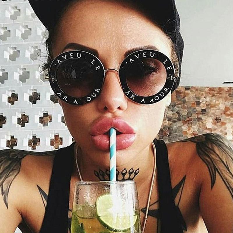 041d841d5 Retro Round Sunglasses Women Brand Designer English Letters Bee ...