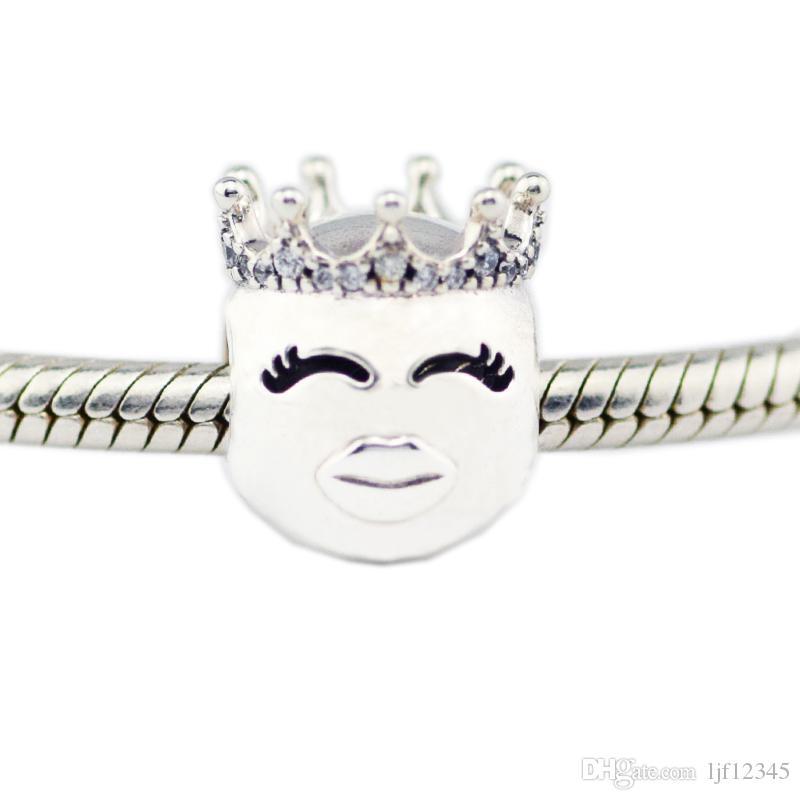 smile Princess Charm Fit Original Bracciale a catena in argento a forma di serpente Collana con perle gioielli che fanno gioielli in argento sterling donna