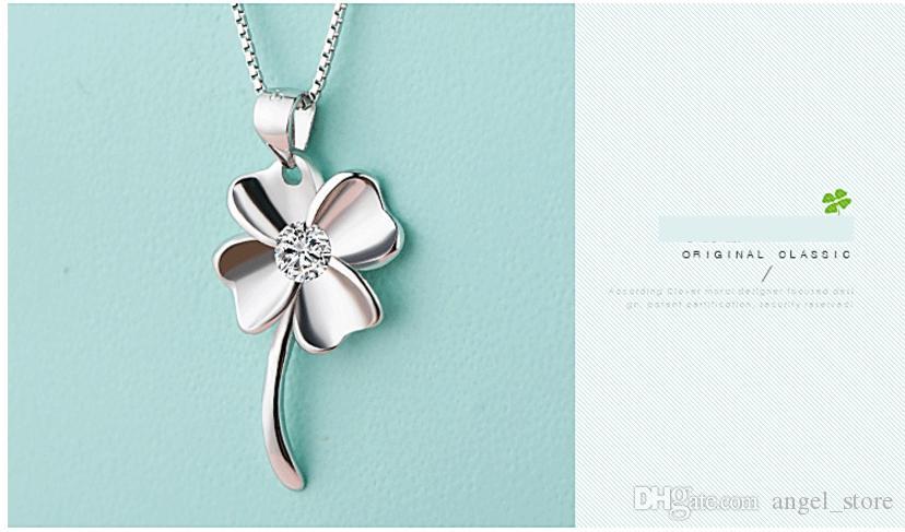 Fata 925 Sterling Silver Trifoglio Fortunato forma pendente Collana con collane di gioielli in zirconi le donne