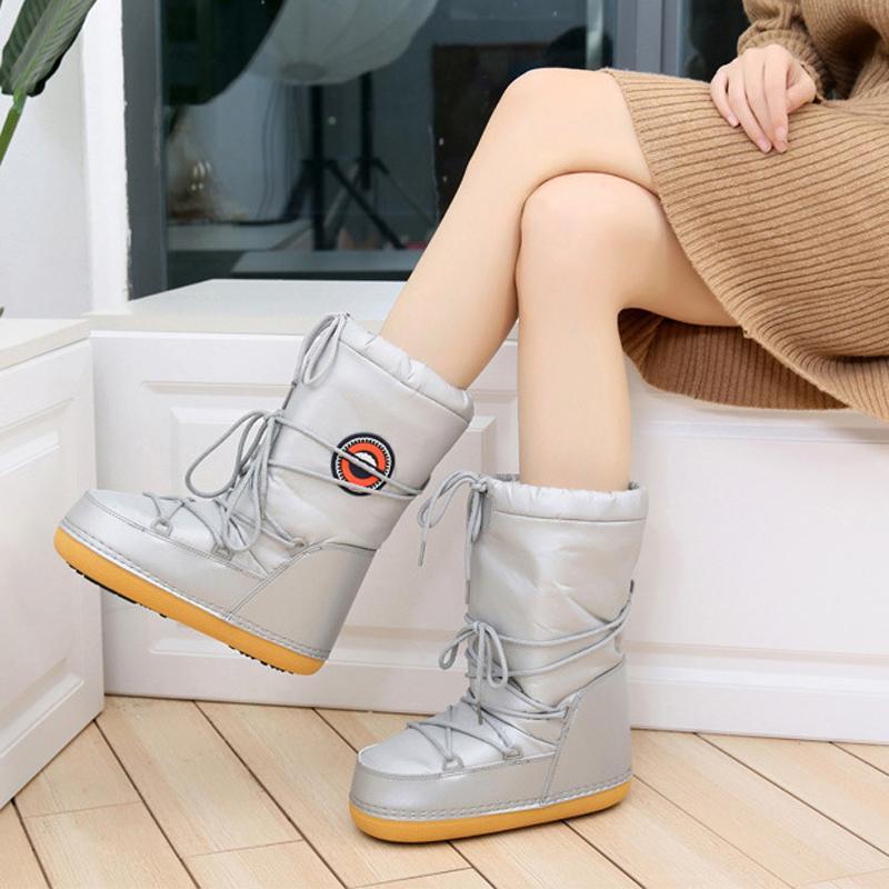 Compre Botas De Nieve Para Mujer 2018 Botas Impermeables Espaciales Cálidas  Zapatillas De Invierno Antideslizantes Zapatos De Esquí Para Mujer Botas De  ... 03ea35a4a3edc