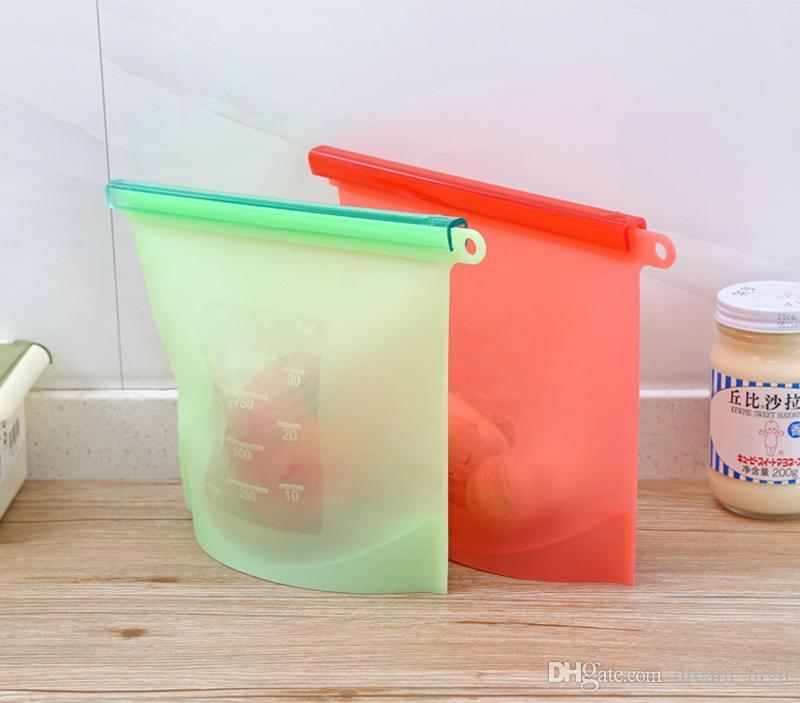 1000ml Riutilizzabile Custodia di conservazione degli alimenti in silicone Tenuta ermetica Contenitore di conservazione degli alimenti Cucina versatile Cucinando sacchetti aspirapolvere