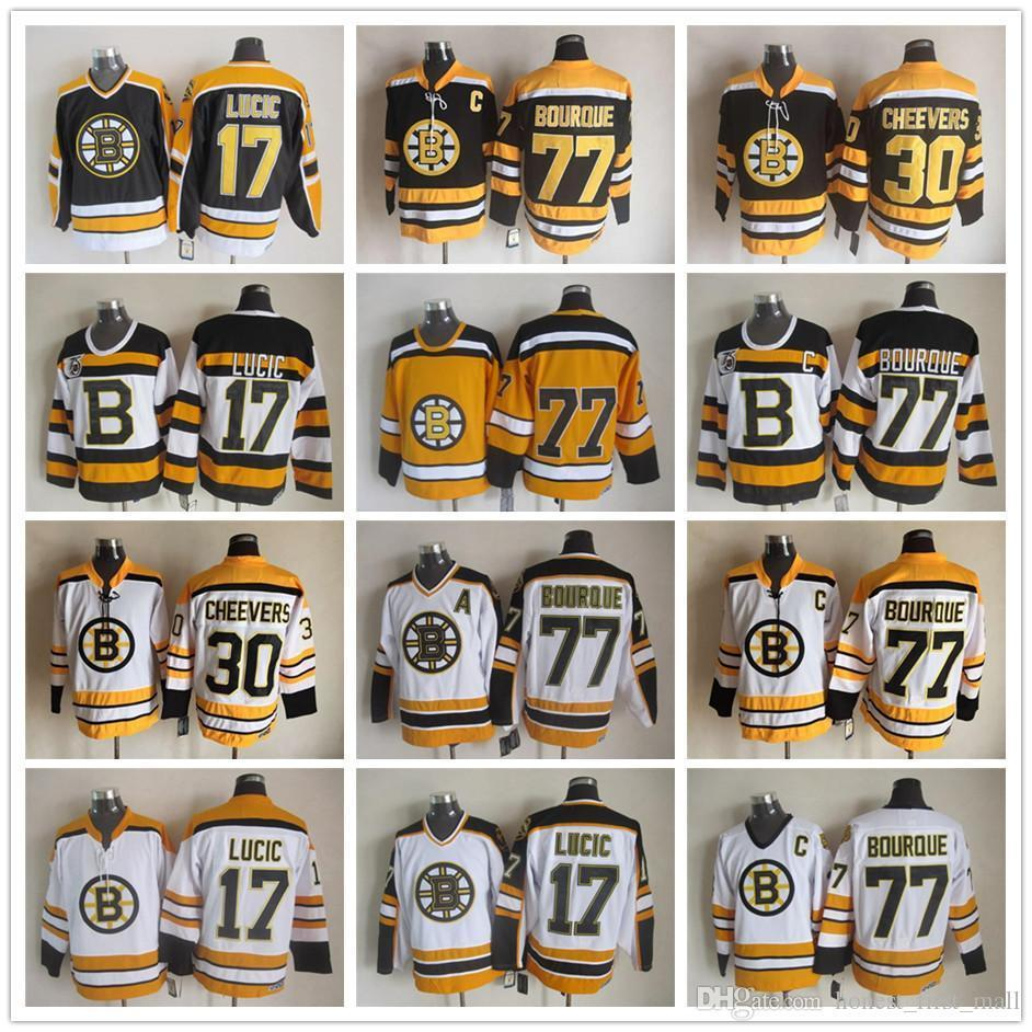 4e9577bcd 2019 Men Stitched 17 Milan Lucic Jerseys Ice Hockey 77 Ray Bourque 30 Gerry  Cheevers Boston Bruins Vintage Jersey CCM 75th Black White Yellow From ...