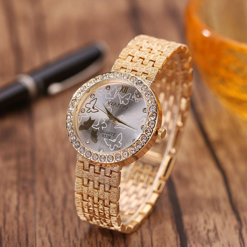ce2f985a7cd9 Compre Señora De La Moda Bracele Reloj Dorado Escala De Diamantes Mujer  Correa De Acero Inoxidable Mariposa Encantadora Relojes De Cuarzo Para  Estudiantes A ...