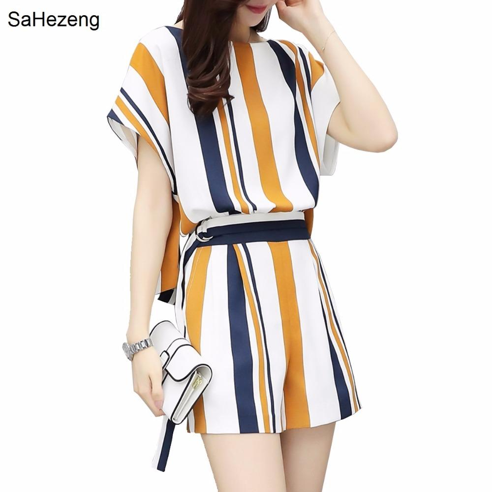 78dbe22c00fa7 Elegant Women Set 2018 Women Summer Casual Short Sleeve Striped Tops +  Shorts Two Piece Set Female Office Suit WS81