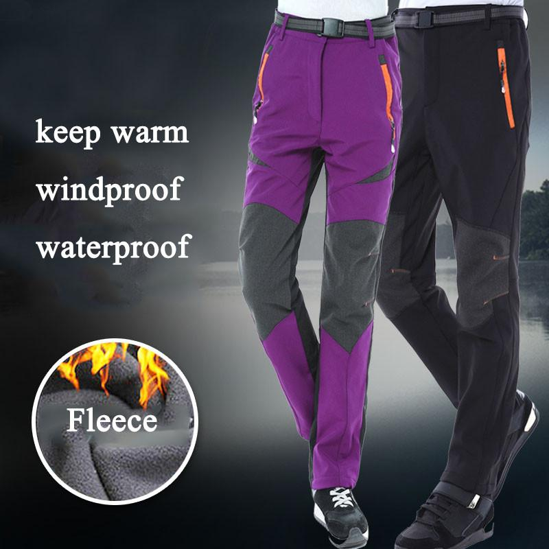 Men Women Outdoor Waterproof Ski Pants Camping Trekking Fleece ... 13d899187