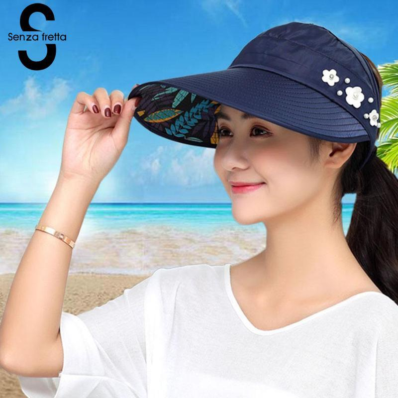 15f6f8d040c2c Women Summer Sun Hats Pearl Foldable Sun Visor Hat With Big Heads Wide Brim Beach  Hat Uv Protection Female Cap 2018 New PSG0131 Summer Hats For Women Bucket  ...