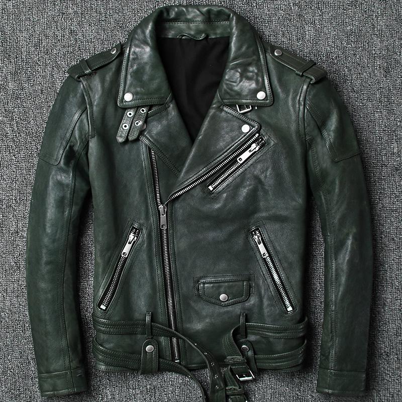39ede240b4d 2018 Men Genuine Motorcycle Leather Jacket Tanned Vintage Goatskin ...