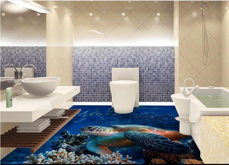 Großhandel PVC Vinylboden Badezimmer Sea World Turtle Wohnzimmer Badezimmer  3D Bodenfliesen Luxus Boden Tapete Von Wallpaper2018, $50.26 Auf ...