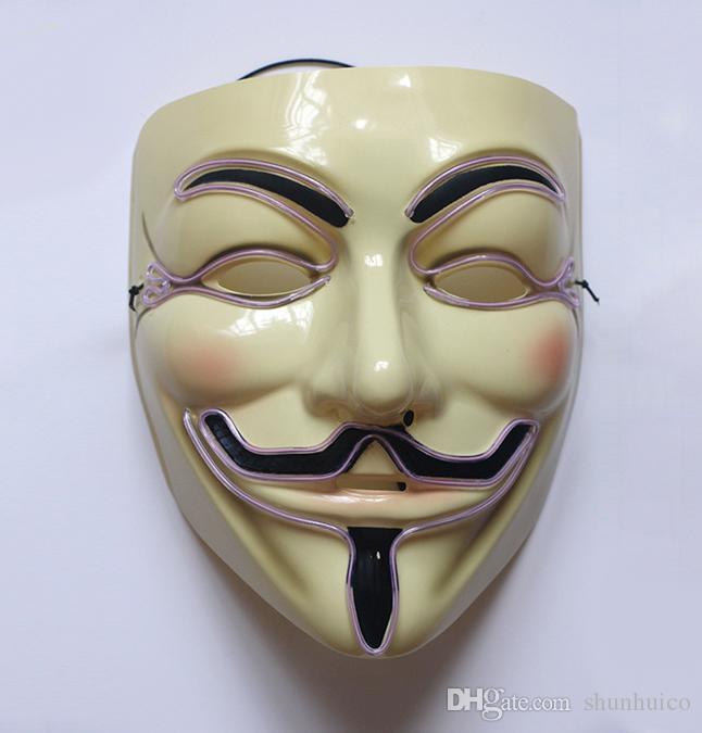 Costume LED mask el wire light up adult jig saw vendetta guy fawkes mask christmas halloween cosplay DJ show hip hop dancing mask